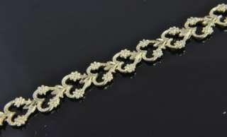 Estate Vtg 14K Gold Heart Lock Key Charm Link Bracelet