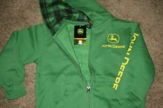 NWT JOHN DEERE BOYS Sweatshirt Hoodie Shirt Green Zipper 8,10/12,14/16