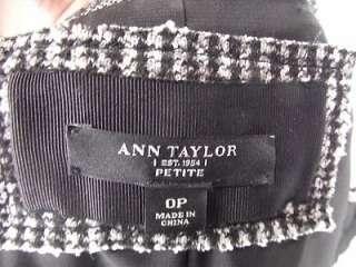 ANN TAYLOR Petite Black & White Lace Blazer Jacket 0P 0 XXS Office