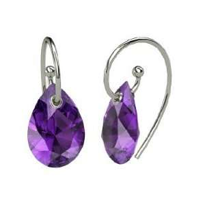 Monsoon Earrings, Pear Amethyst 14K White Gold Earrings