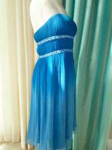 Beaded Silk Chiffon Strapless Cocktail Semi Formal Dress 10 NWT