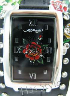 Ed Hardy TEMPTRESS skull rose Watch Black White NEW