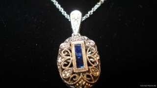 ART DECO style 18K WHITE GOLD & DIAMOND & SAPPHIRE GALLERIED PENDANT