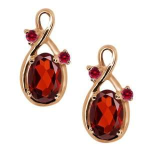 18 Ct Genuine Oval Red Garnet Gemstone 18k Rose Gold Earrings Jewelry