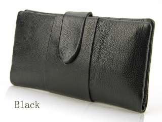 Women Genuine Leather Snap Bifold Clutch Wallet Men Card Holder