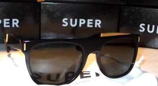 RetroSuperFuture SUPER FLAT TOP SUNGLASSES BLACK GOLD ARM ZEISS LENS
