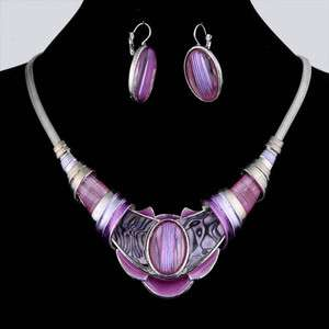 ethnic tibetan silver pink enamel herringbone chain necklace earring