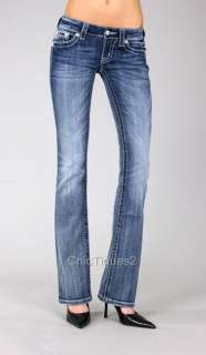 Miss Me Jeans Silver Stitch Cupids Wing Denim Boot Cut JP5436B Sz 25