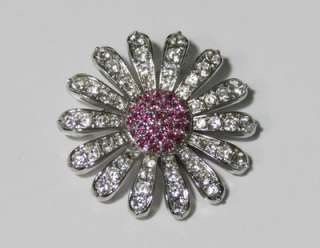 NEW SWAROVSKI FLOWER PIN/BROOCH/JEWELRY CLEAR/PINK CRYSTALS/STRASS