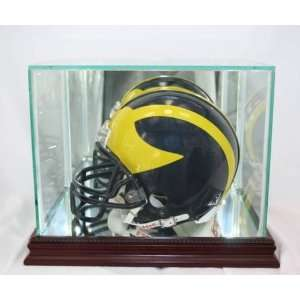 Glass Football Mini Helmet Display Case with Cherry Wood
