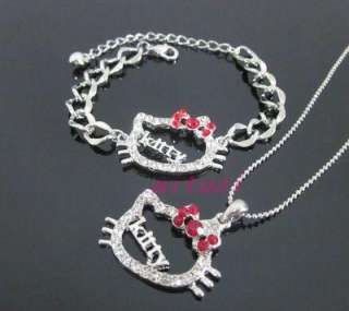 red bow kitty letter necklace bracelet set 2item best match