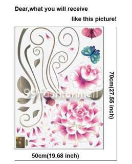 Removable Pink Chrysanthemum Flower Blue Butterfly Mural DIY Wall