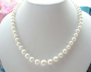 Natural AAA+ 12mm white freshwater pearls necklace