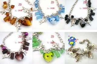 A033x Lot 6pc glass Heart Crystal bead Cupid Bracelet