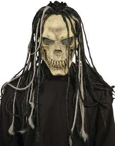 SKELETON SKULL MASK w/ DREADS Latex Silicone Halloween fancy dress