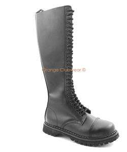 DEMONIA Mens Leather Knee High Combat Steel Toe Boots