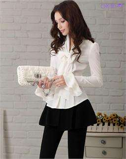 NEW Brand Noble Luxury Victorian Slim Cocktail Shirt Bow Women Blouse
