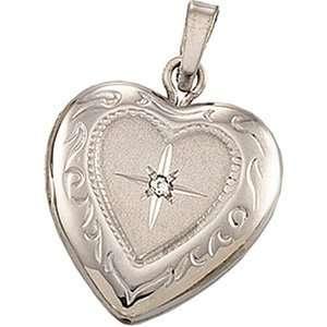 Gold 13.50X12.75 mm Heart Shaped Locket W Diamond CleverEve Jewelry