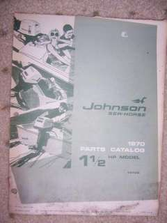 1970 Johnson Motor Parts Catalog Sea Horse 1 1/2 HP M