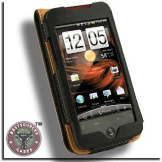 Genuine Leather Flip Case for HTC Droid Incredible BLK