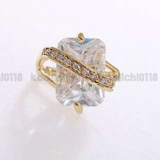 18K Gold Plated Big Clear CZ Ring ML0175