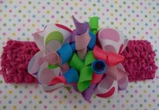 Boutique Bow Headband Baby BIRTHDAY Korker Dots