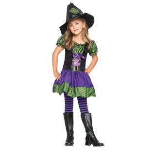 Witch,belted peasant dress and witch hat PURPLE/NGRN/BLK
