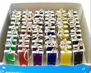60 LED Flashlight Keychains Key Ring Key Chain LOT NEW MULTI COLOR
