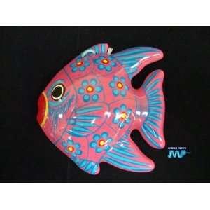 Mexican Glazed Ceramic Fish Hanging Wall Art Decor Folk Art/ MEXICO