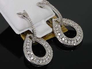 LADIES WHITE GOLD 1.2C DIAMOND ROUND DANGLE EARRINGS