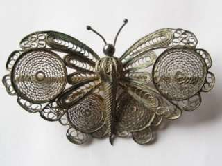 Large Vintage 1930s 800 Silver Filigree Butterfly Brooch Pin