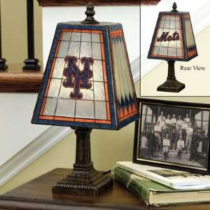 New York Mets Art Glass Table Lamp Memorabilia.