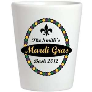 Mardi Gras Shot: Custom Ceramic Shotglass: Kitchen