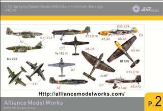 Model Works 172 WWII German Aircraft Markings Stencils, AW002