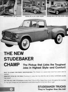 1960 Studebaker Champ Pickup Truck Original Rare Ad
