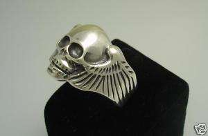Silver Sterling ring skull Biker Chopper Gothic rock