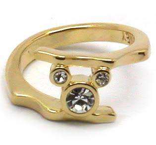 Disney Mickey Mouse Crystal Ring Yelow Gold Tone