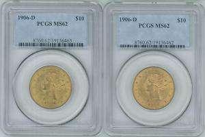 1906 D $10 Eagle Liberty Head Gold Coins Pcgs MS62