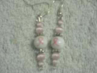 PINK BREAST CANCER SUPPORT RIBBON PIERCED EARRINGS