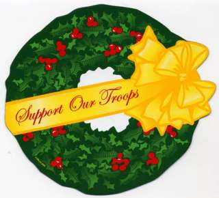 Support Our Troops Christmas Holiday Wreath Car Magnet