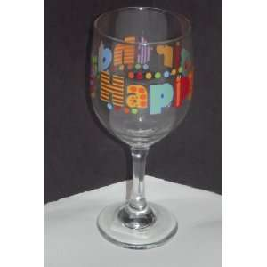 Birthday Wishes Wine Glasses Set Of 4 (11.5 OZ): Kitchen