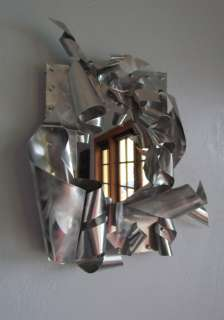 Industrial WALL METAL ART MIRROR Hand Crafted