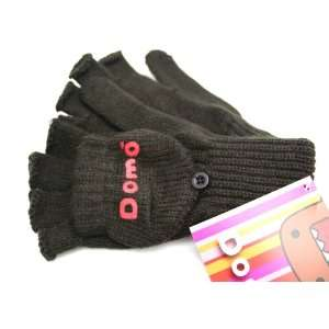 Domo   Kun Face Knit Fingerless with Cover Gloves