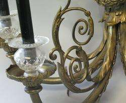 Vintage & Large French Solid Brass Wall Sconce Lamp c. 1940