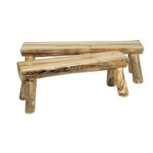 Rustic Pine Half Log Bench Patio, Lawn & Garden