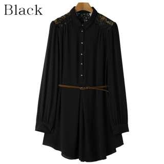 Hi Korean Fashion★Lace Shirt Dresses Belt Womens Casual Sheer Shift