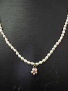 YONI Z Faux Pearl Pink Floral Pendant Necklace