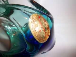 Italian MURANO Style Blown Glass Blue Green Swan Figurine by Crystal