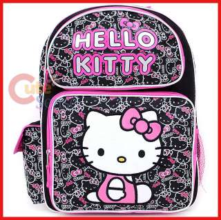 Kitty School Backpack 16 Large Bag  Black Pink Kitty Outlines