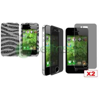 Black Zebra Bling Diamond Case+2x Privacy Shield For iPhone 4 s 4s 4G
